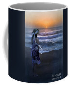 Girl Watching The Sun Go Down At The Ocean Coffee Mug