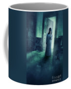 Girl With Candle In Doorway Coffee Mug by Jill Battaglia