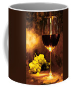 Glass Of Wine And Green Grapes By Candlelight Coffee Mug by Elaine Plesser