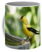 Gold Finch At The Bird Bath Coffee Mug