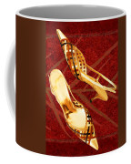 Golden Lattice Slingbacks On Royal Red Carpet Coffee Mug