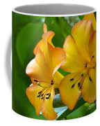 Golden Tropical Flowers Coffee Mug