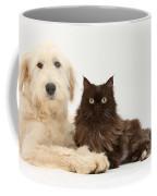 Goldendoodle And Chocolate Cat Coffee Mug