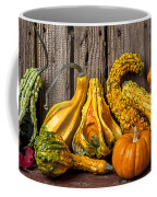Gourds Against Wooden Wall Coffee Mug