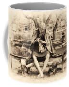 Granny Sitting On A Bench Knitting Ursinus College Coffee Mug
