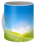 Grassland In The Sunny Day With Rainbow Coffee Mug