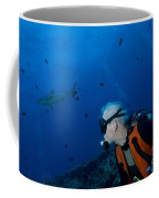 Gray Reef Shark With Diver, Papua New Coffee Mug by Steve Jones