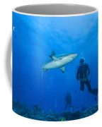 Gray Reef Shark With Divers, Papua New Coffee Mug by Steve Jones