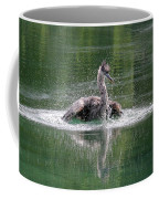 Great Blue Heron Having A Bath Coffee Mug
