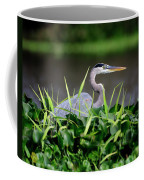 Great Blue Heron Hiding In The Grasses Coffee Mug