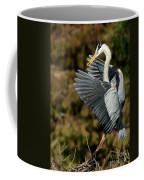 Great Blue Heron Landing Coffee Mug