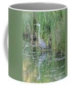 Great Blue Heron With Reflection Coffee Mug