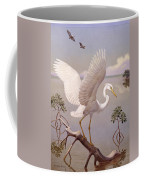 Great White Heron, White Morph Of Great Coffee Mug by Walter A. Weber