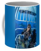 Great White Shark Behind Frightened Coffee Mug