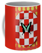 Green And Black Butterfly On Red Checker Plate Coffee Mug
