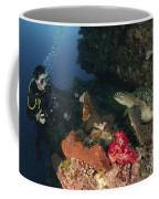 Green Sea Turtle And Underwater Coffee Mug