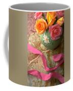 Green Vase With Roses Coffee Mug