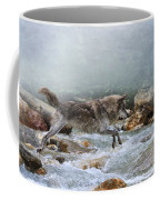 Grey Wolf Jumping Over A Mountain Stream Coffee Mug
