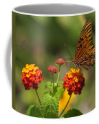 Gulf Fritillary Butterfly On Colorful Lantana  Coffee Mug