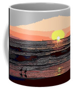 Gulls Enjoying Beach At Sunset Coffee Mug