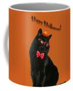 Halloween Card - Black Cat Ready To Party Coffee Mug