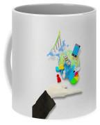 Hand And Globe On Hand Made Paper  Coffee Mug by Setsiri Silapasuwanchai