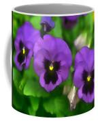 Happy Faces Purple Pansies Coffee Mug