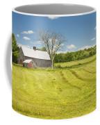 Hay Being Harvested Near Barn In Maine Coffee Mug