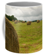 Haybales In Field On Stormy Day Coffee Mug