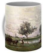 Haycart Beside A River  Coffee Mug