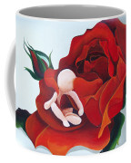 Healing Painting Baby Sitting In A Rose Coffee Mug