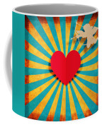 Heart And Cupid On Paper Texture Coffee Mug