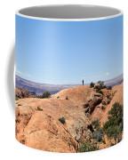 Hiker At Edge Of Upheaval Dome - Canyonlands Coffee Mug