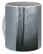 Hikers Enjoy A Foggy Outing On A Trail Coffee Mug