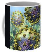 Hiv Three Virions On Blue Coffee Mug