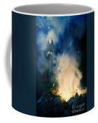 Hooded Figure In A Mask By A Fire Coffee Mug