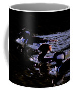 Hooded Mergansers And Moon Glare Coffee Mug