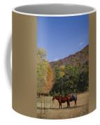 Horses And Autumn Landscape Coffee Mug