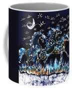 Horses Frolic On A Starlit Night Coffee Mug by Carol Law Conklin