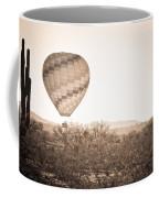Hot Air Balloon On The Arizona Sonoran Desert In Bw  Coffee Mug