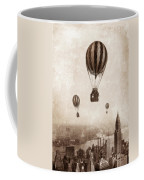 Hot Air Balloons Over 1949 New York City Coffee Mug