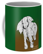 Inked Elephant In Green And Brown Coffee Mug