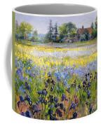 Irises And Two Fir Trees Coffee Mug