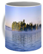 Island In Lake With Morning Fog Coffee Mug