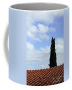 Italian Cyress And Red Tile Roof Rome Italy Coffee Mug