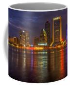 Jacksonville At Night Coffee Mug by Debra and Dave Vanderlaan