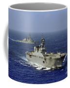 Jds Hyuga Sails In Formation With U.s Coffee Mug