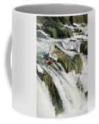 Kayaker At The Top Of A Waterfall Coffee Mug