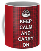 Keep Calm And Carry On Poster Print Red Black Stripes Background Coffee Mug