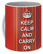 Keep Calm And Carry On Poster Print Red Purple Stripe Background Coffee Mug
